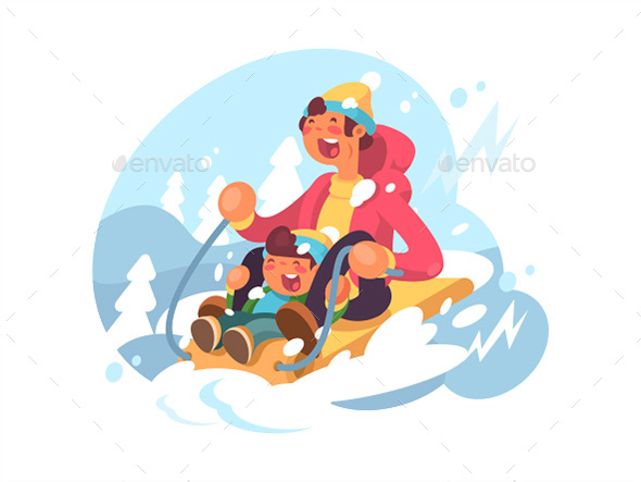 Dad and Son Sledding - People Characters
