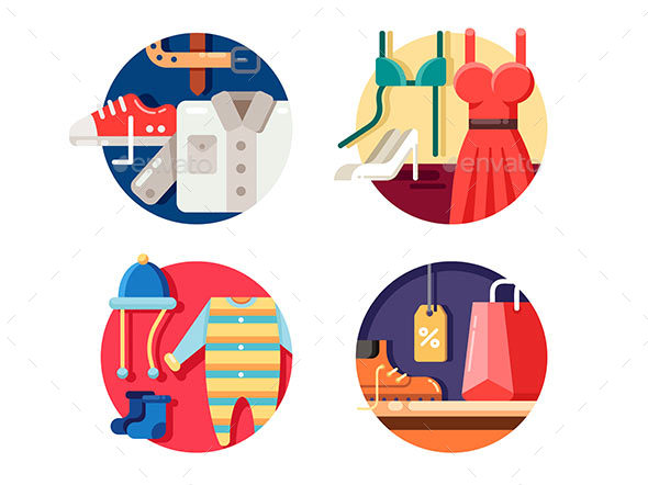 Man Woman and Childrens Clothing - Decorative Symbols Decorative