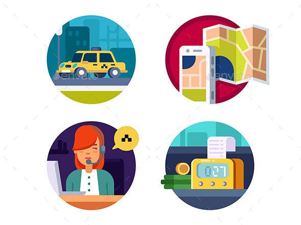 Service Taxi Concept - Web Elements Vectors