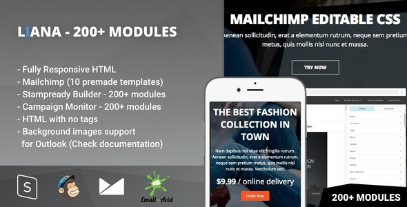 Liana - 200+ Modules - Responsive Email with Mailchimp Editor & StampReady Builder
