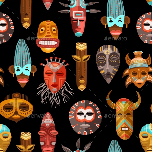 African Ethnic Tribal Masks Seamless Pattern - Religion Conceptual