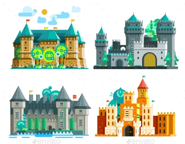 Colorful Castles Set - Buildings Objects