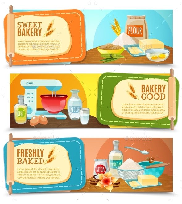 Baking Ingredients Horizontal Banners - Miscellaneous Conceptual