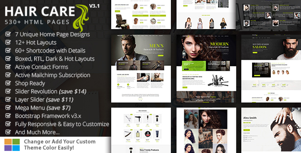 HairCare- Beauty Salon & Barber HTML5 Template for Women & Men - Health & Beauty Retail