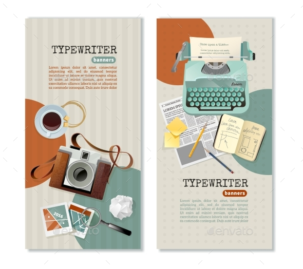 Journalist Typewriter Vertical Banners - Miscellaneous Vectors