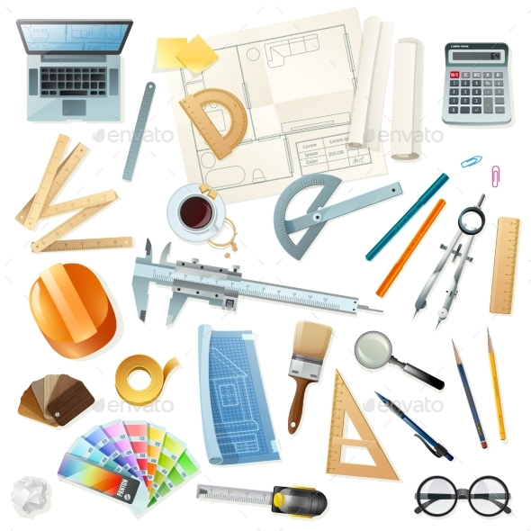 Construction Architect Tools Set - Man-made Objects Objects