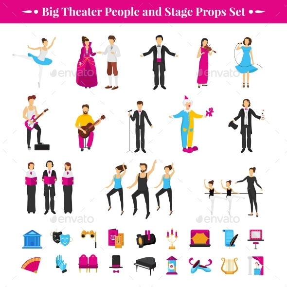 Stage Props Set - People Characters
