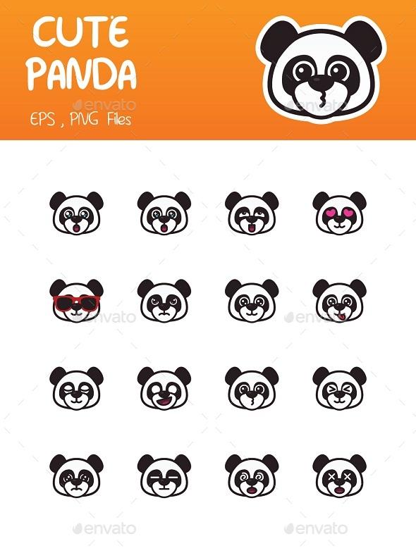 Panda Emoticon - Animals Characters