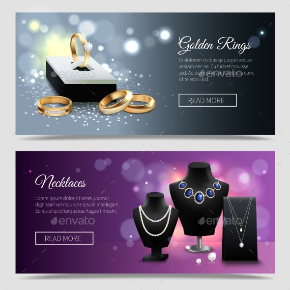 Jewelry Realistic Banners - Retail Commercial / Shopping