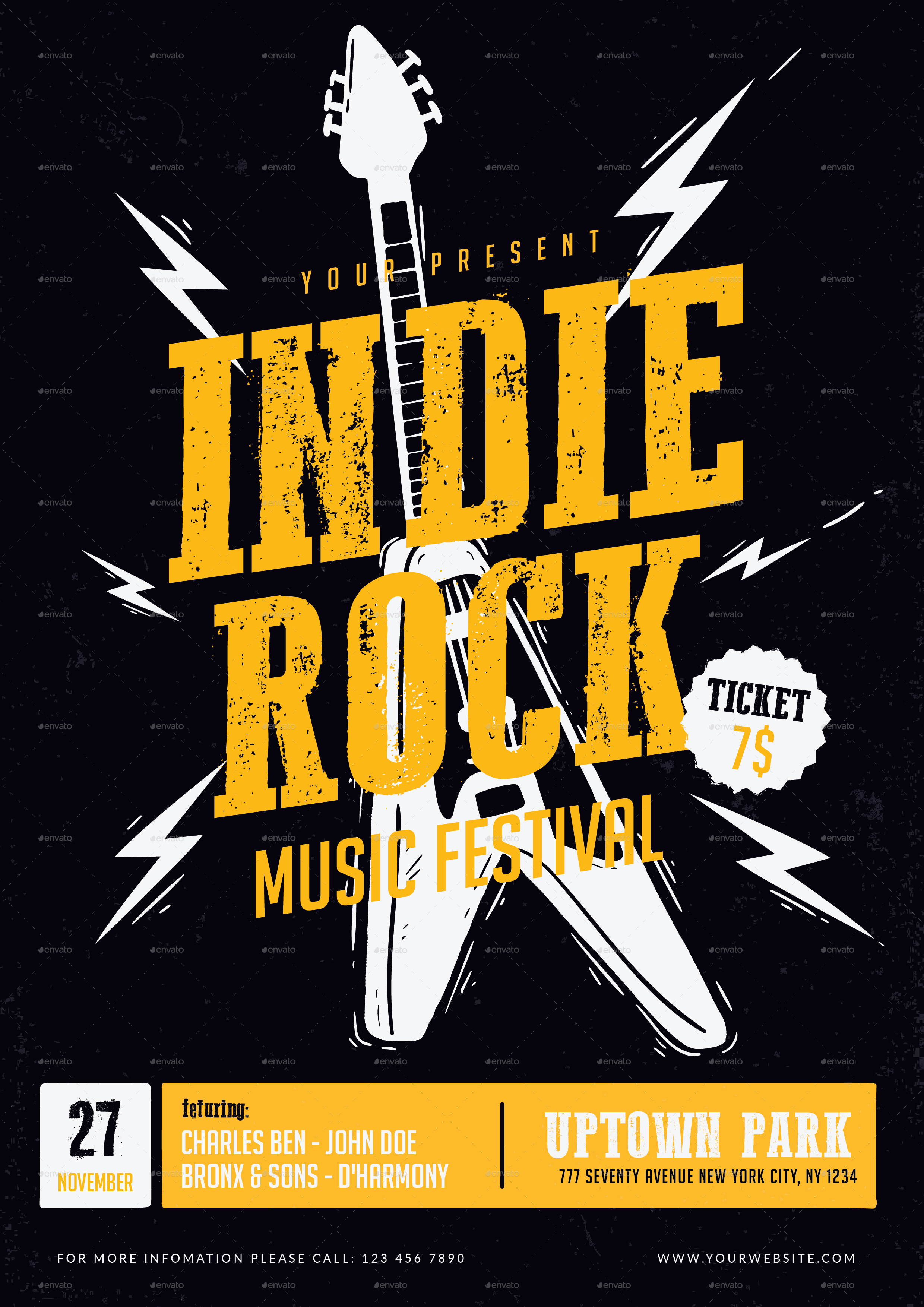 indie rock music festival flyer by ming ming graphicriver