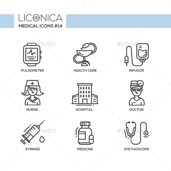 Medicine - Thin Line Design Icons - Health/Medicine Conceptual