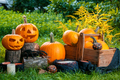 Halloween. Jack-o-Lantern. scary pumpkin with a smile near knife in stump in green forest,