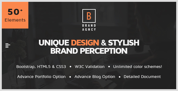 Brand Agency – One Page HTML Bootstrap Template for Agency, Startup, Corporate, Business.