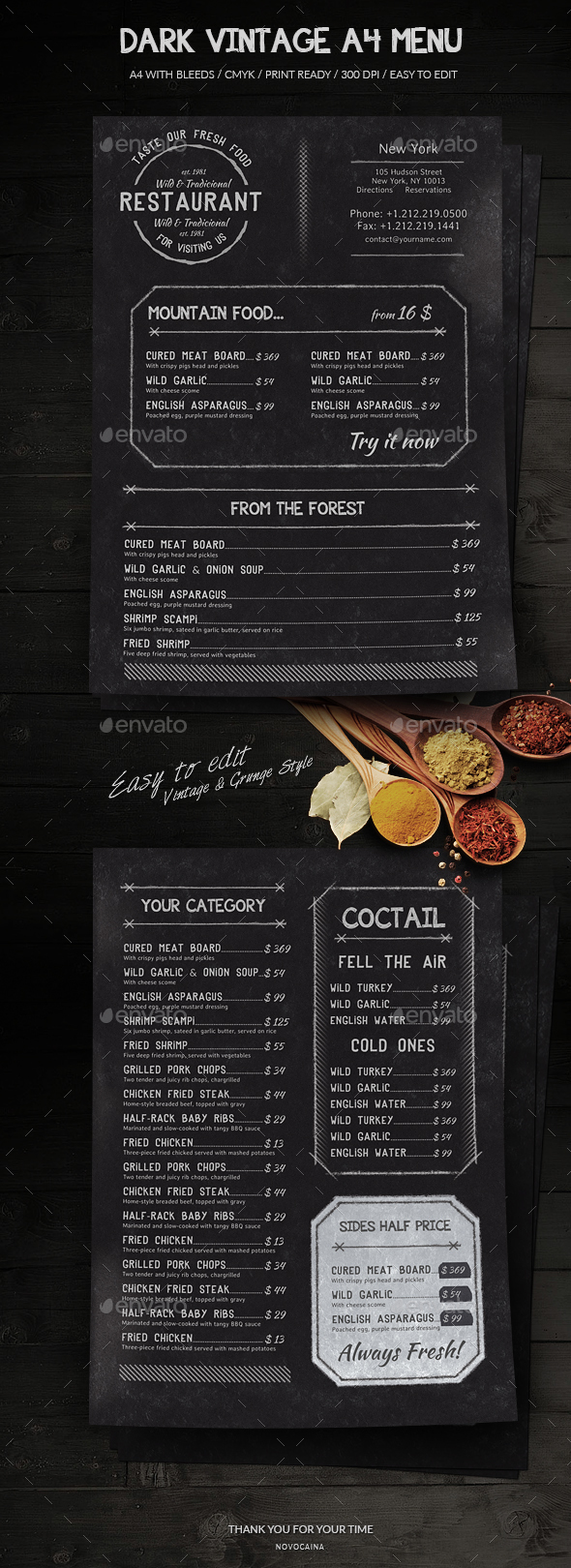 Dark Vintage A4 Menu - Food Menus Print Templates