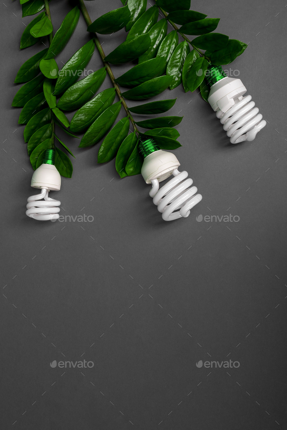 LED lamp with green leaf, ECO energy concept, close up. Light bulb Saving and Ecological