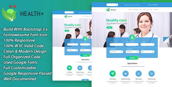 HealthPlus – Health & Clinic HTML5 Website Template