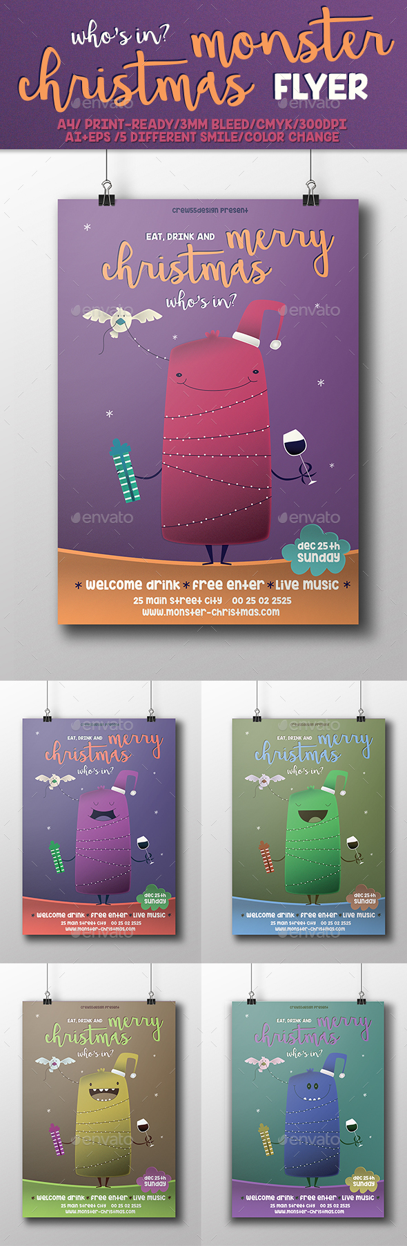 Christmas Monster Flyer - Events Flyers