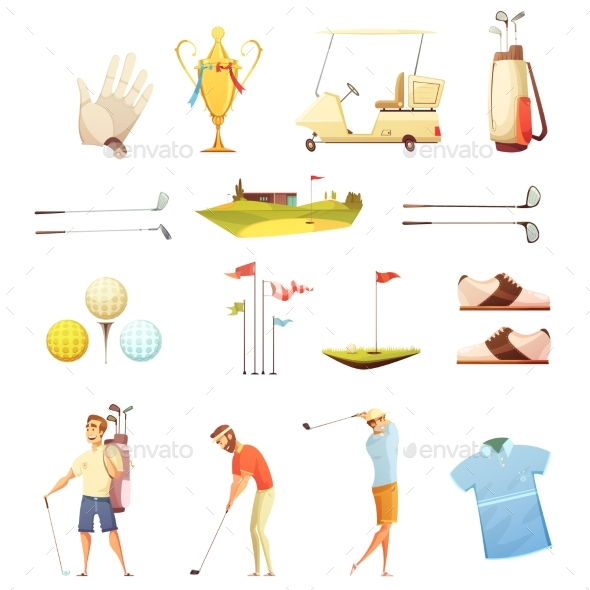 Golf Attributes Retro Cartoon Icons Set - Sports/Activity Conceptual