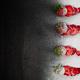 Sliced fresh strawberries powdered sugar on black backfround. Top view, frame. Copy space. Summer - PhotoDune Item for Sale