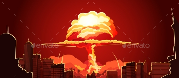 Nuclear Explosion Mushroom Cloud Retro Poster - Miscellaneous Vectors