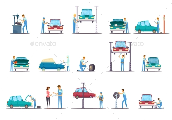 Car Repair Service Cartoon Icons Collection - Services Commercial / Shopping