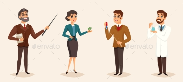 Education Cartoon Template - People Characters