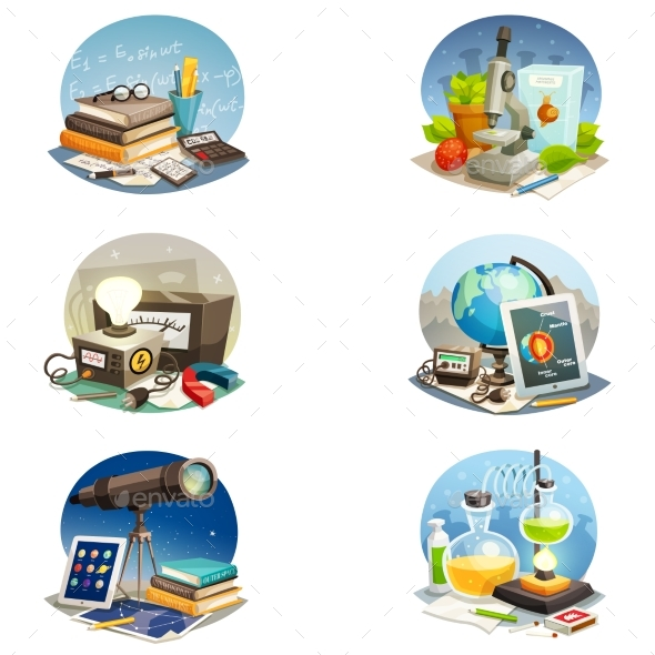 Science Cartoon Set - Abstract Conceptual