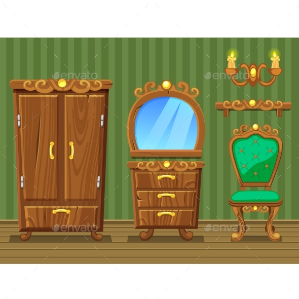 Cartoon Wooden Retro Furniture - Man-made Objects Objects