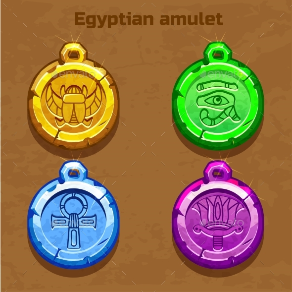 Colored Old Egyptian Amulet - Decorative Symbols Decorative