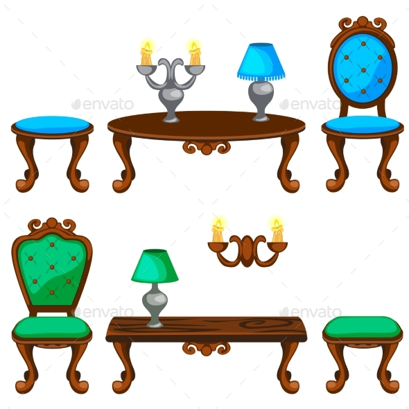 Cartoon Colorful Retro Furniture - Man-made Objects Objects