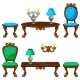 Cartoon Colorful Retro Furniture - GraphicRiver Item for Sale