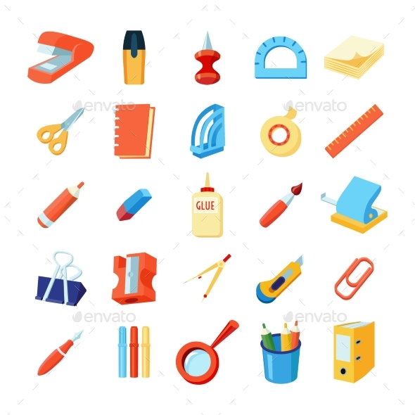 Colorful Stationery Icons Set - Miscellaneous Vectors
