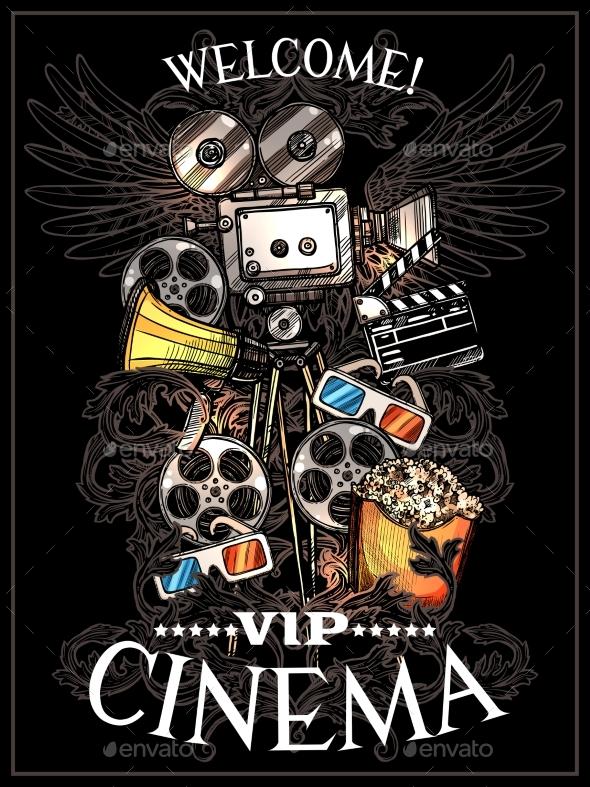 Doodle Cinema Poster - Backgrounds Decorative