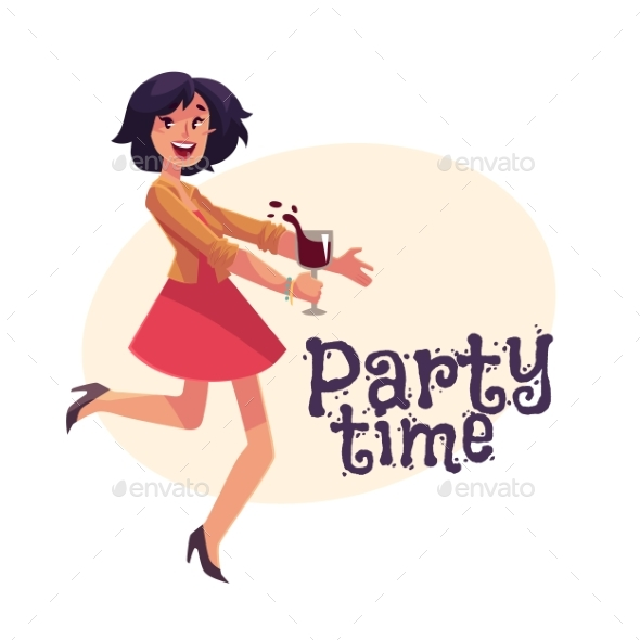 Young Girl Dancing at Party with Wine - People Characters
