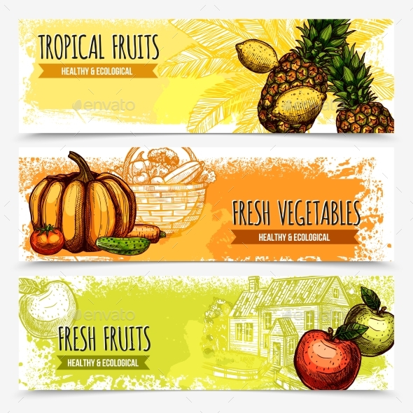 Vegetables and Fruits Horizontal Banners - Food Objects