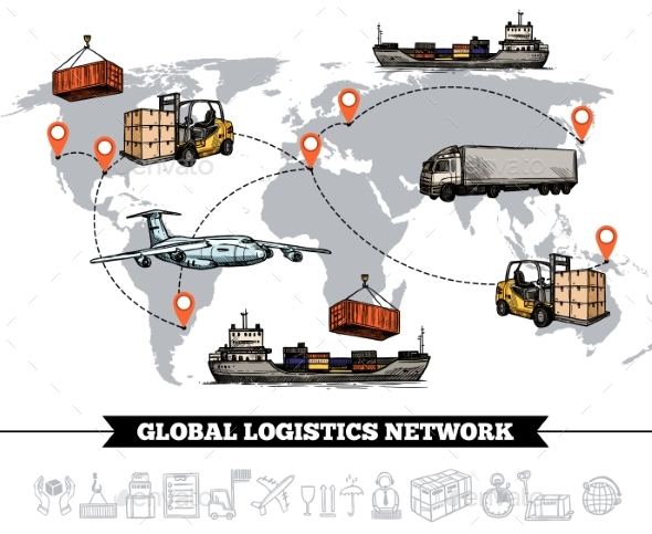 World Logistic Network Template - Abstract Conceptual