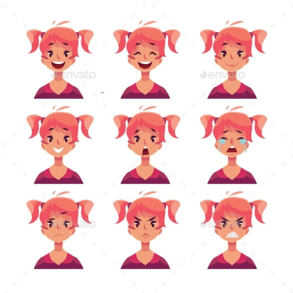 Red-Haired Girl with Ponytails Face Expressions - People Characters