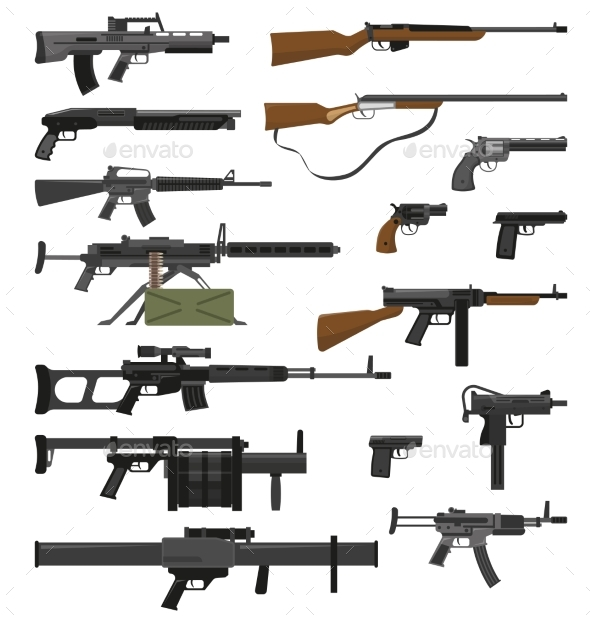 Weapons Guns Set - Man-made Objects Objects