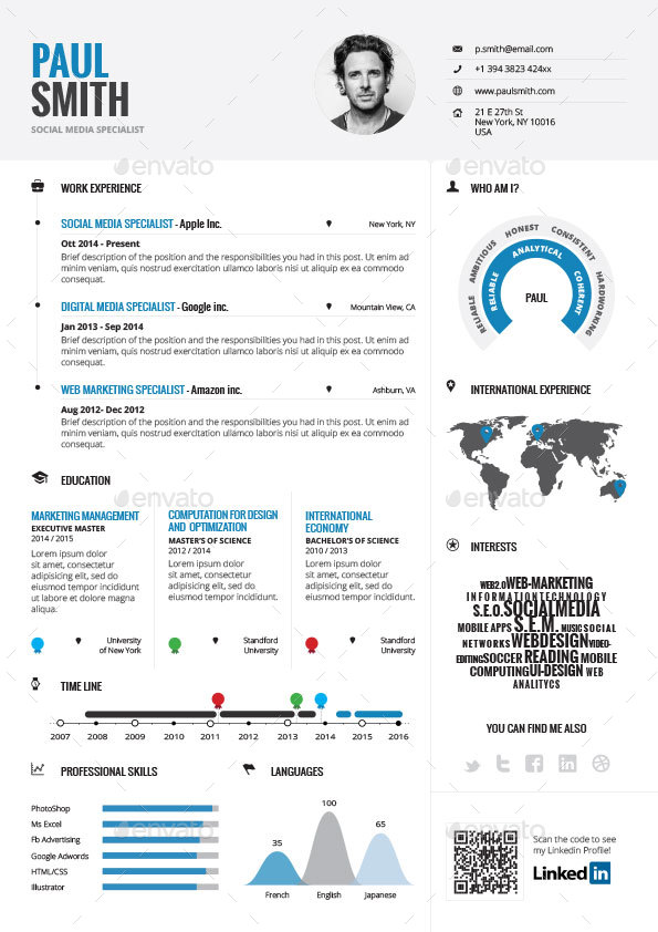 Infographic Resume Vol 1 By Paolo6180 Graphicriver