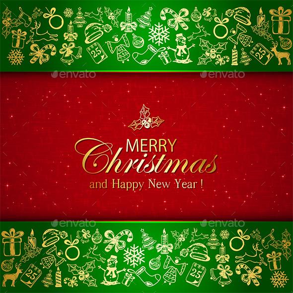 Golden Christmas Decorative Elements on Green Background - Christmas Seasons/Holidays
