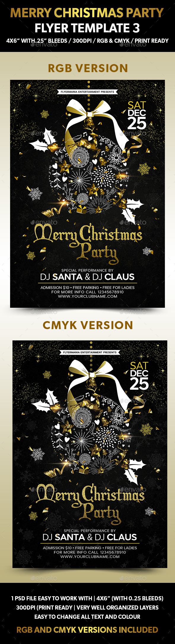 Merry Christmas Party Flyer Template 3 - Flyers Print Templates