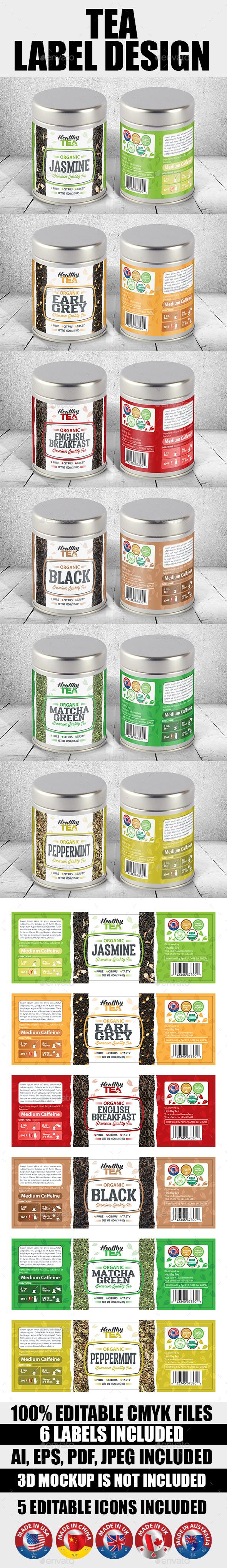 Tea Label Templates Vol-01 - Packaging Print Templates