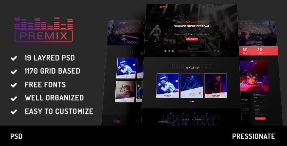 Premix – Music Event PSD Template
