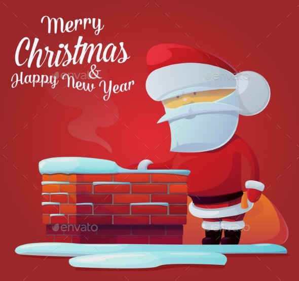 Santa Claus Near Chimney on Roof - Christmas Seasons/Holidays