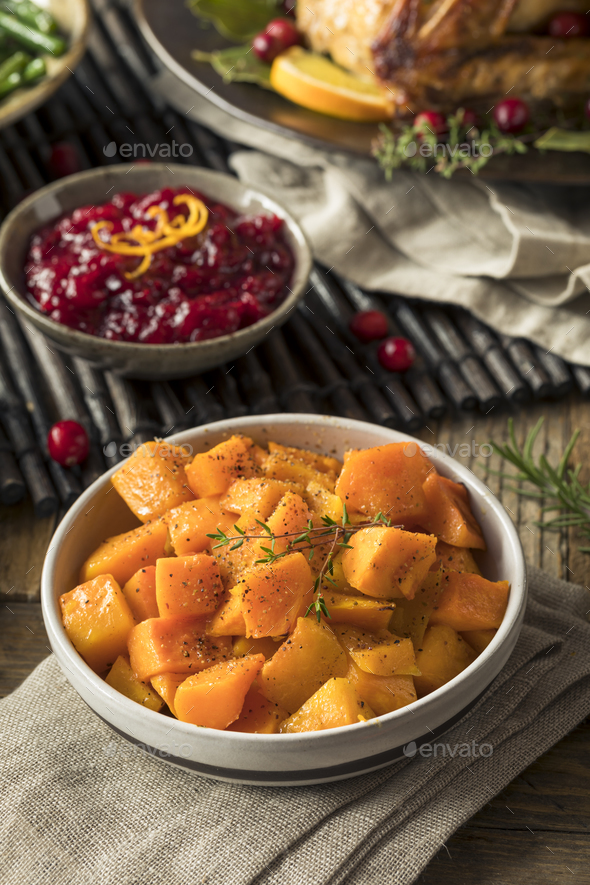 Homemade Thanksgiving Roasted Squash - Stock Photo - Images