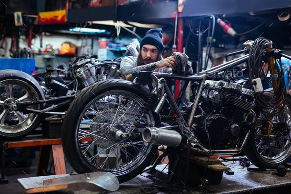 Repairing custom bike - Stock Photo - Images