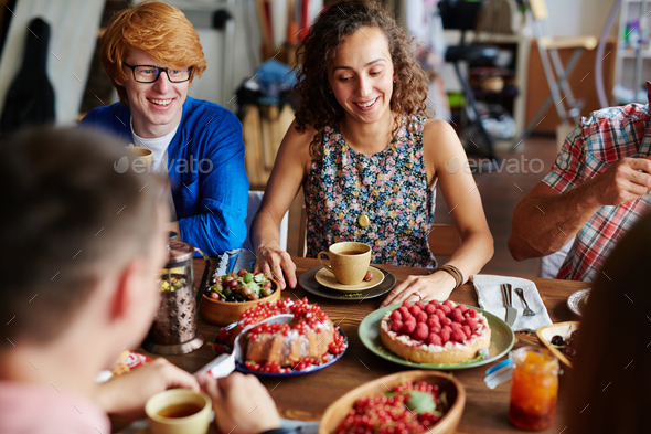 Talk during dinner - Stock Photo - Images