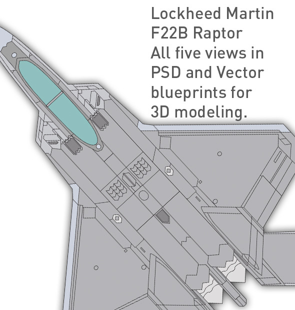 Lockheed F22 B Raptor blueprints for 3D modeling - 3DOcean Item for Sale