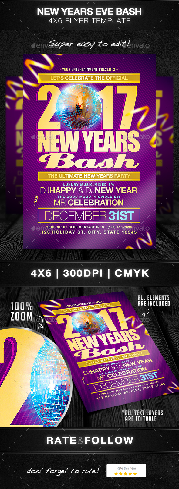 New Years Bash Flyer Template - Holidays Events