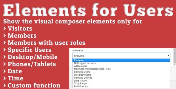 Elements for Users - Addon for Visual Composer - CodeCanyon Item for Sale